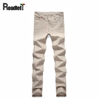 Mens Thin Elastic Linen Casual Pants Men Skinny Khaki Pants Slim Fit Business Casual Dress Chino