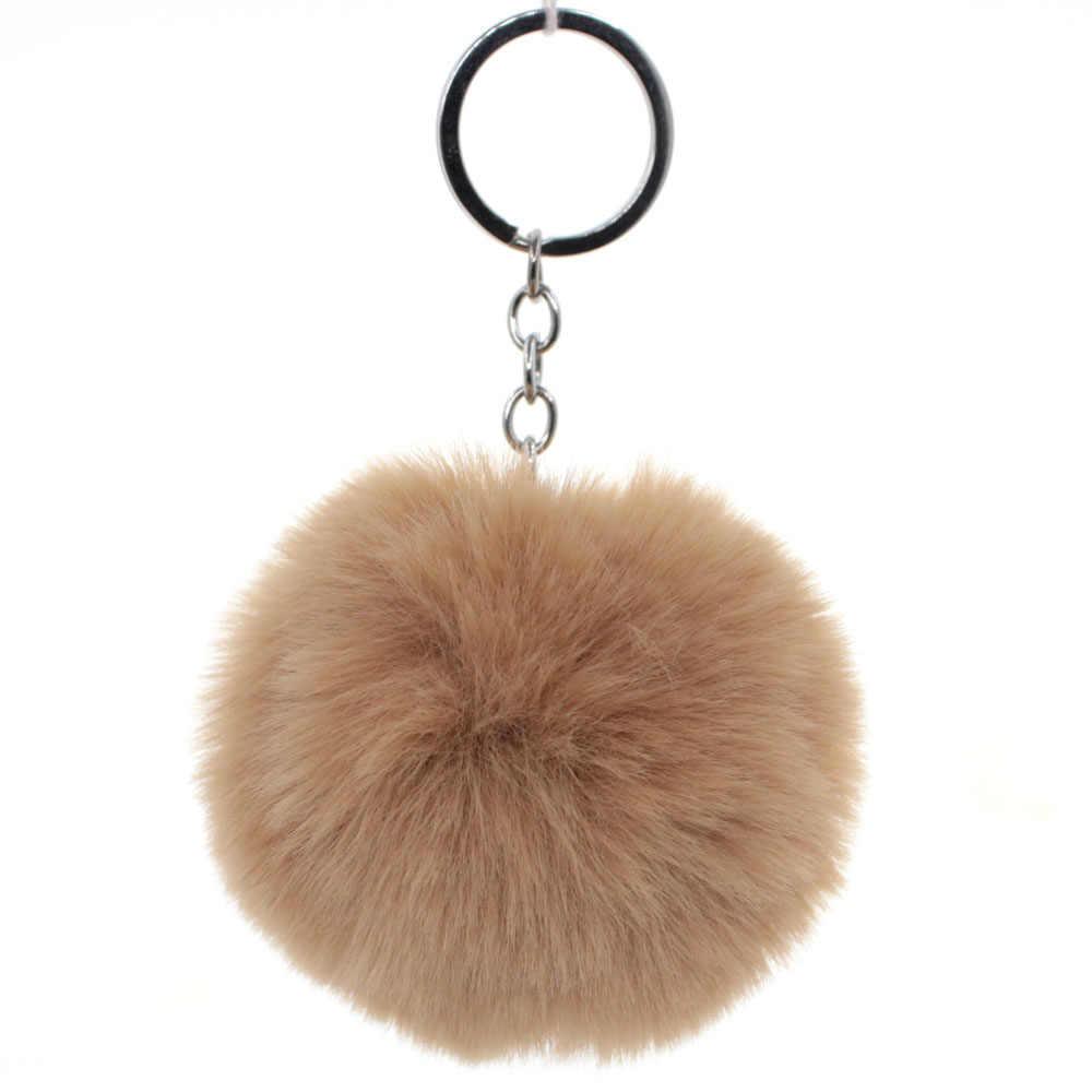Moda Fluffy Faux Rex Rabbit Fur Bola Pom Pom Pompom Chaveiro Saco anel Chave Do Carro Chaveiro Pingente de Presente