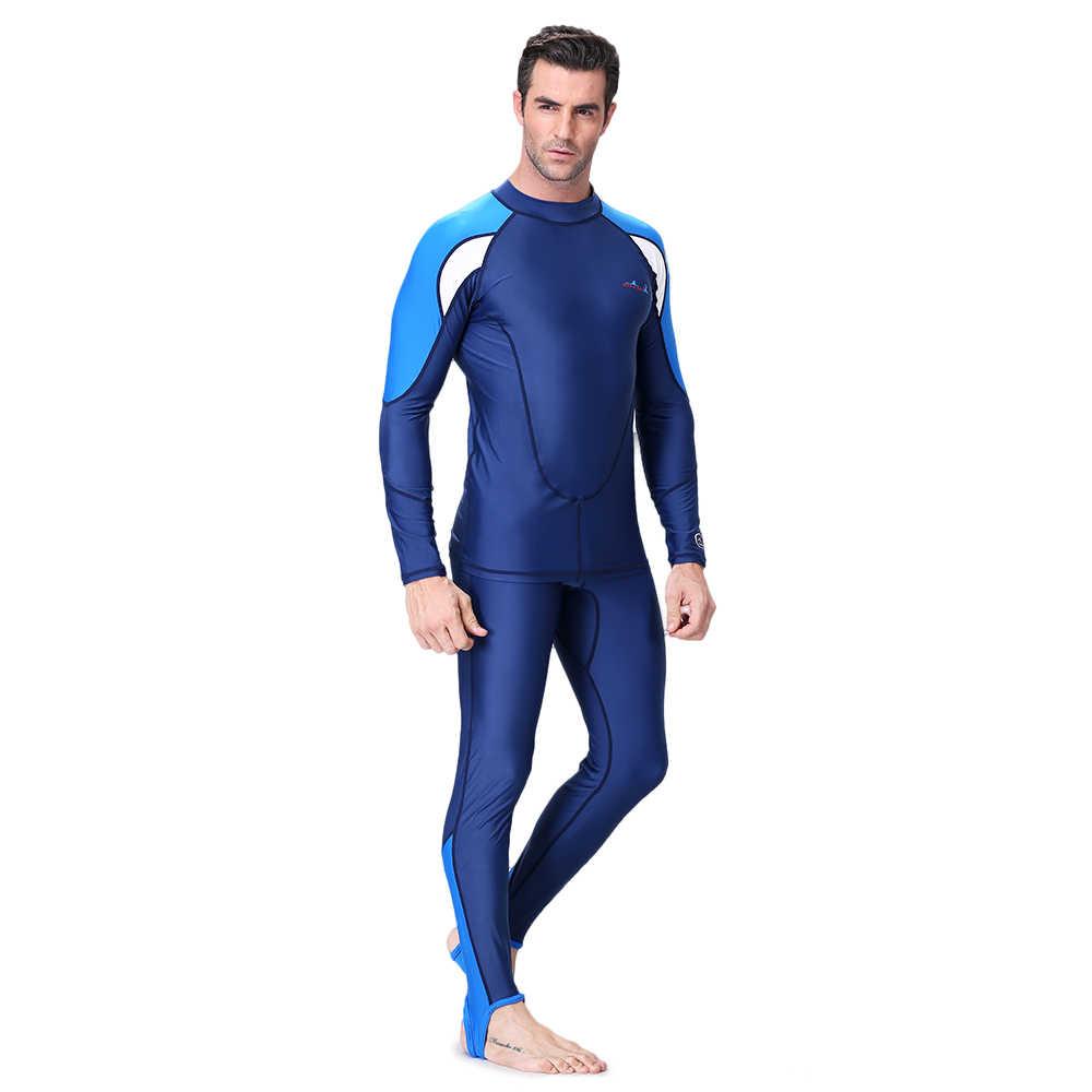 الرجال بدلة غطس 2 أجزاء سريعة الجافة بدلة غطس UPF50 + الأشعة فوق البنفسجية حماية الغوص تصفح لباس سباحة طويلة الأكمام قميص السراويل