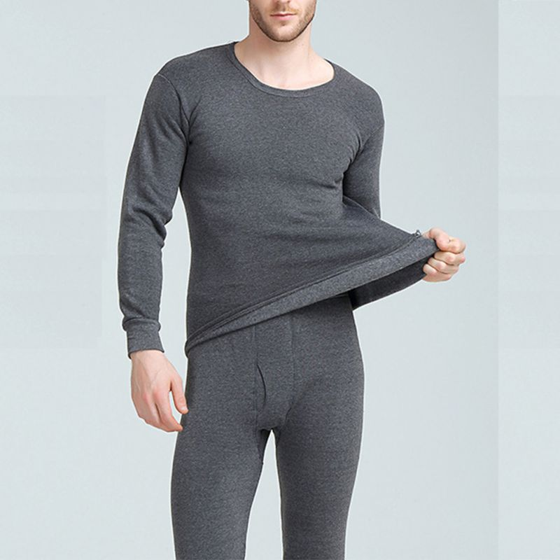 Men's Winter Warm Thermal Underwear Sets Men's Underwear Thick Thermal Underwear Black Gray Navy Dark Gray 3XL