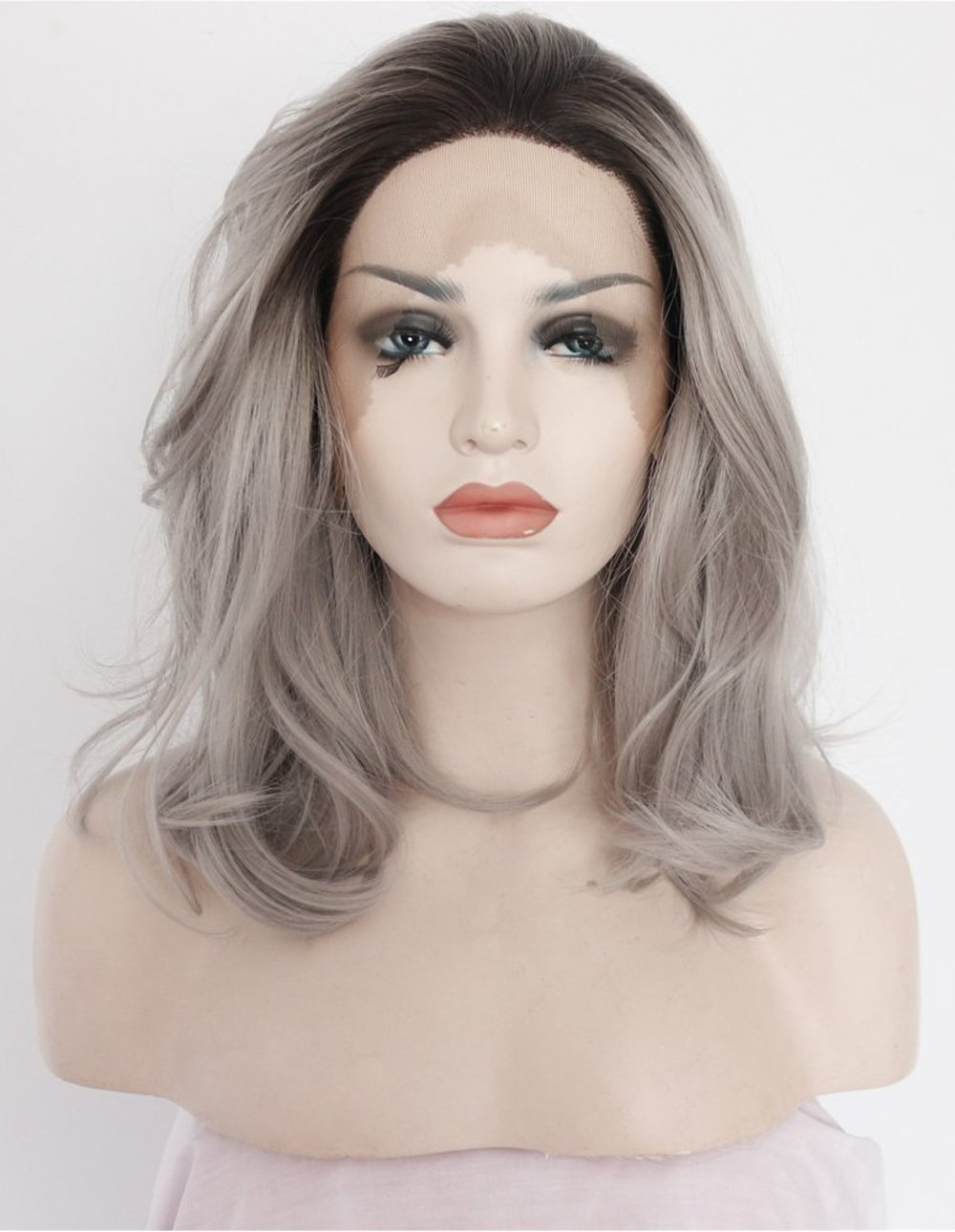 Fantasy Beauty Ombre Grey Synthetic Lace Front Wigs Bob Dark Roots 2 Tones Silver Gray Short