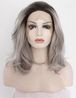 Fantasy Beauty Ombre Grey Synthetic Lace Front Wigs Bob Dark Roots 2 Tones Silver Gray Short Wavy Replacement Full Wig for Women