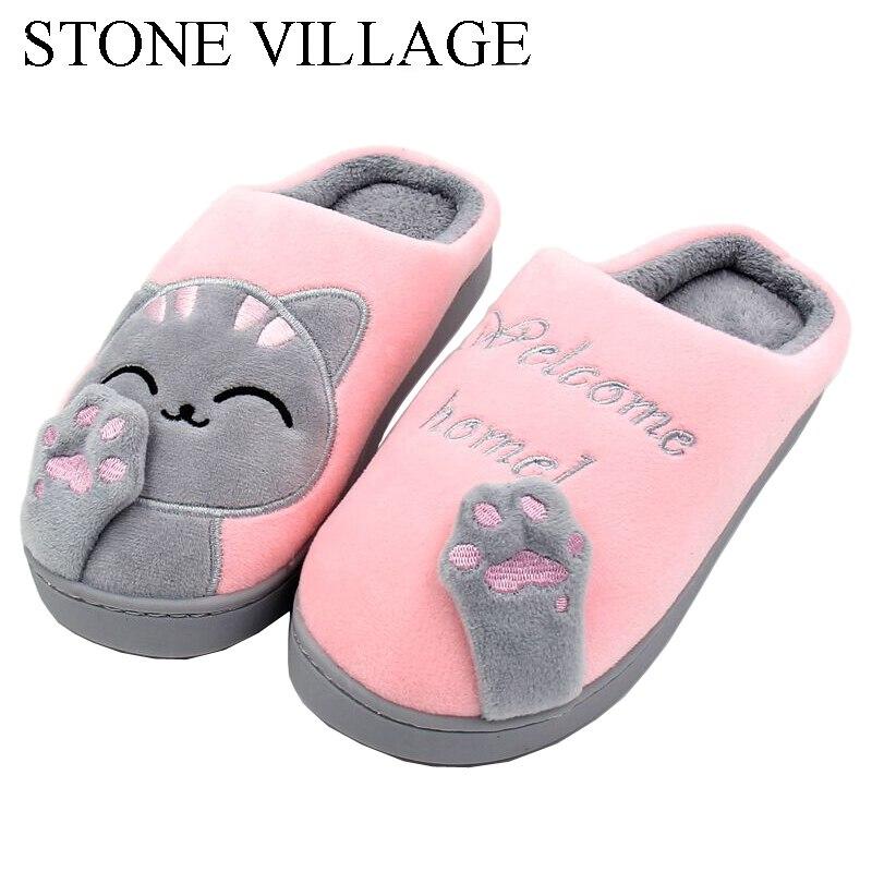 Gato Animal huellas lindo Zapatillas de casa de peluche corto caliente suave de algodón de las mujeres zapatillas ama piso interior zapatos de las mujeres de gran tamaño 45