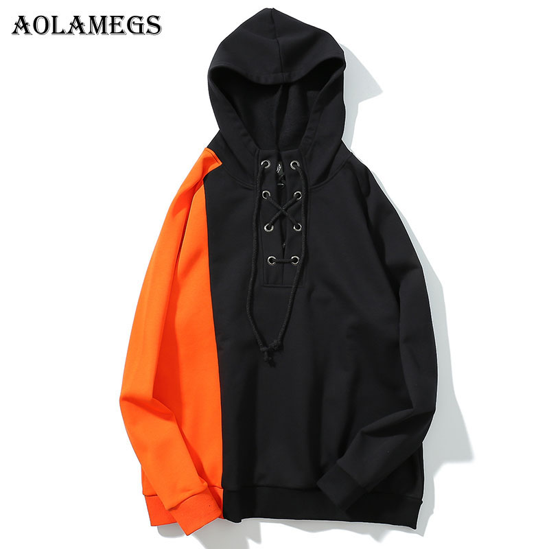 Aolamegs Hoodies Men Patchwork Thick Hooded Pullover High Street Fashion Cotton Hip Hop Streetwear O-neck Hoodie Couple Autumn