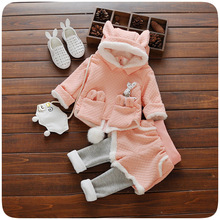 Girls Clothing Set Winter 2016 Kids Clothes Brand Children Clothing Rabbit Ear Hat Sport Suit Tracksuit Toddler Girls Top+ Pant