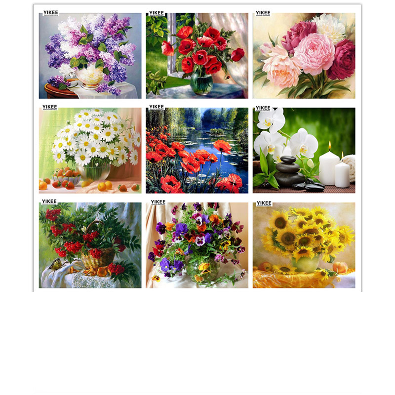 diamond painting flower,full,square drill,diy,embroidery,mosaic,5d,diamond painting cross stitch
