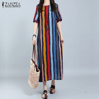ZANZEA Women Dress 2017 Summer Long Maxi Party Dresses Casual Loose Short Sleeve Casual Loose Striped