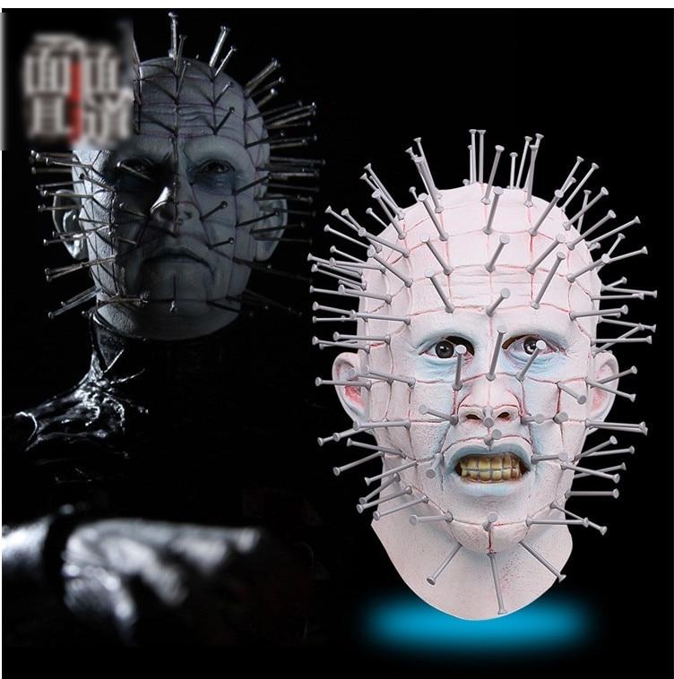 Cool Halloween HatsHorror Movie Hellraiser Scary Pinhead Masks Grimace Monster Adult Cosplay Realistic Latex Party