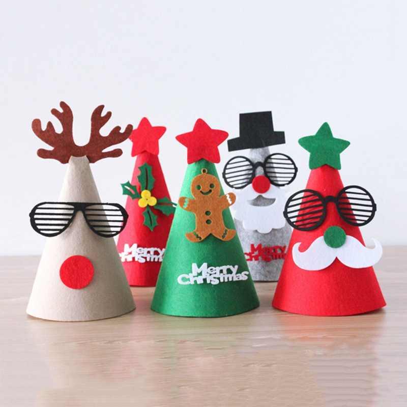 Diy Felt Ornament Christmas Hat Santa Cap Snowman Christmas Shape For Kids Adults Ornaments Caps Party Tree Decor Color Random