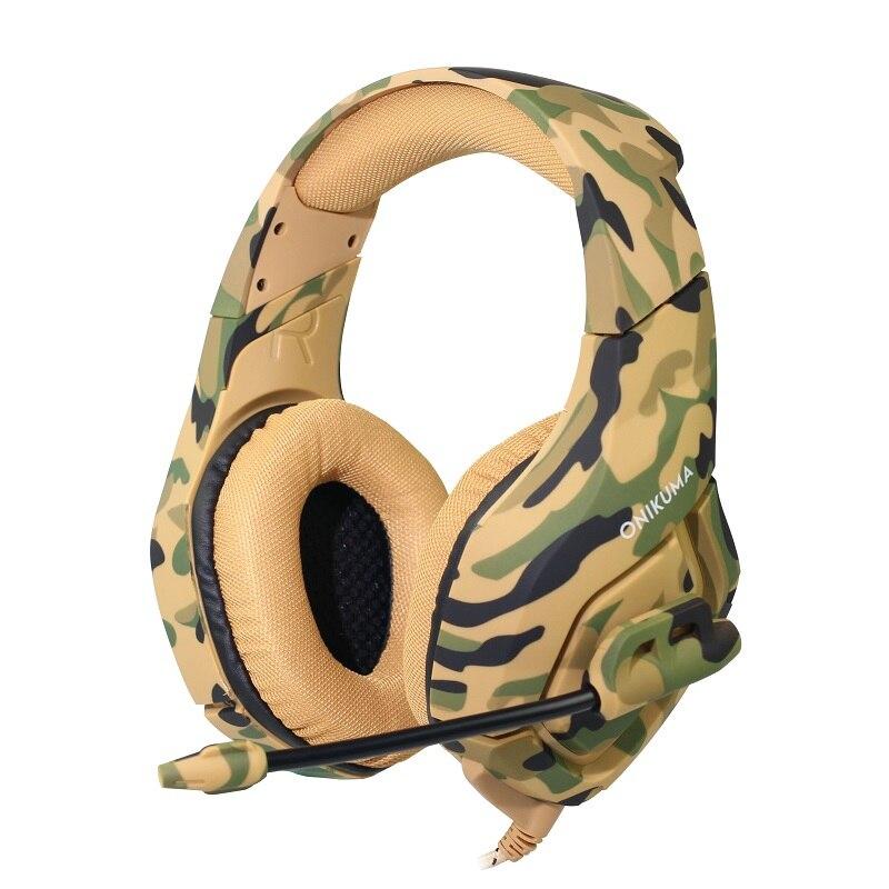 ONIKUMA K1 camuflaje bajo profundo juego de auriculares de cancelación de ruido auriculares Stereo Subwoofer auriculares para PC portátil con micrófono