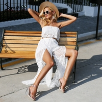 Simplee Sexy Lace Two Piece Jumpsuit Women Strapless Tansparent White Romper Jumpsuit Elegant Summer Playsuit Loose