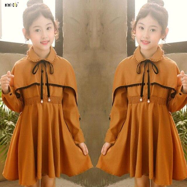 bda16ed258501 US $16.84 40% OFF|2018 Autumn Winter Girl Dress Long Sleeve Ruffles Pleated  Elegant Princess Dresses Kids Girls Clothes 4 5 6 7 8 9 10 11 12 Years-in  ...