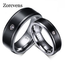 Modyle Fashion Wedding Black Titanium Ring Matte Finished Classic Engagement Anel Jewelry For Male Wedding Bands(China)