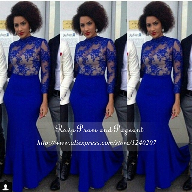 Aliexpress.com : Buy African Style Long Royal Blue Prom Dresses ...