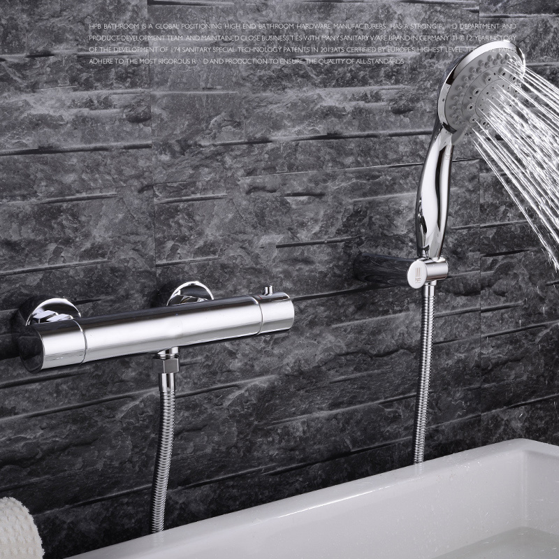 Robinet thermostatique de salle de bains robinet de baignoire avec poche, robinet de bain chaud et froid en laiton, robinets de salle de bains cascade ensemble de douche