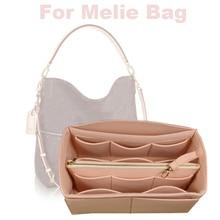цена на For Melie bag Insert Organizer Purse Handbag Bag in Bag-3MM Premium Felt(Handmade/20 Colors)w/Detachable Zip Pocket