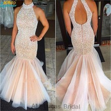 Elegant 2017 Evening Dresses Mermaid Beaded Pearls Vestido De Festa Princess Style Formal Gowns For Wedding Party Dresses