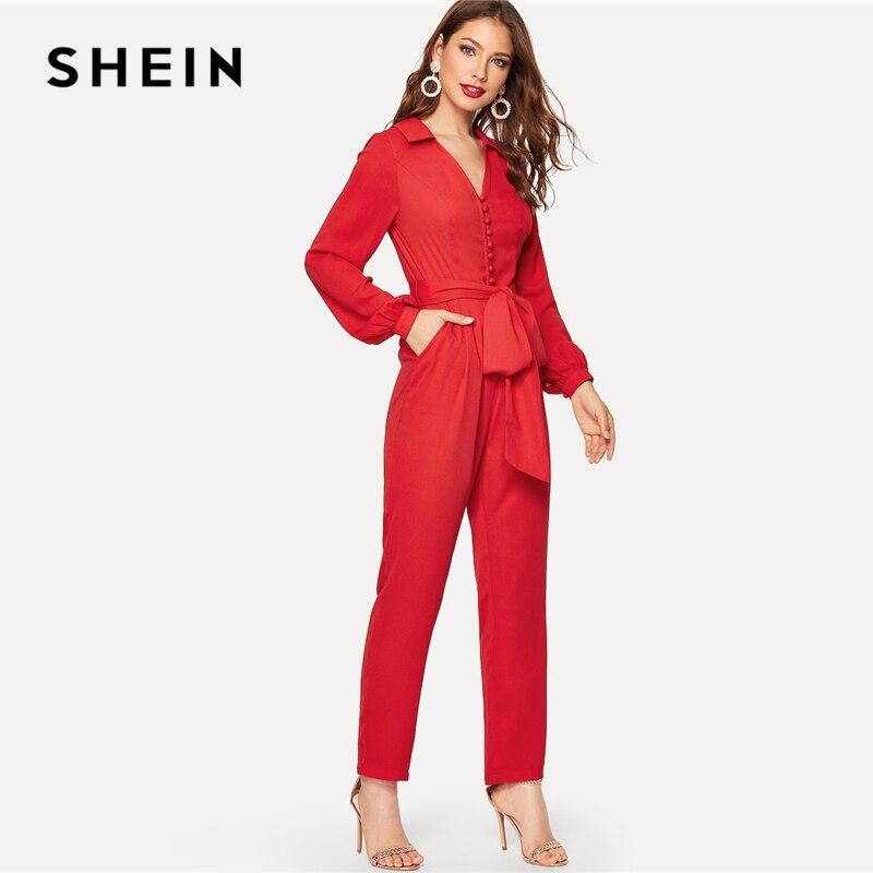 d1803c4f90ac SHEIN Red Button Front V Neck Belted Jumpsuit 2019 Women High Waist Long  Trouser Highstreet Deep
