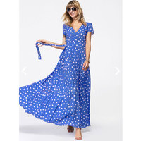 Viscose Polka Dot Short Sleeve Maxi Elegant Dresses
