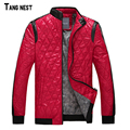 TANGNEST Men's Jacket 2017 New Fashion Men Winter Warm Argyle Stand Collar Thick Jackets Male Casual Slim Coat M-XXXL MWJ2039