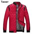 Tangnest argyle chaqueta de los hombres 2017 nuevos hombres de la moda invierno cálido gruesas chaquetas de cuello de pie masculino ocasional delgada capa m-xxxl mwj2039