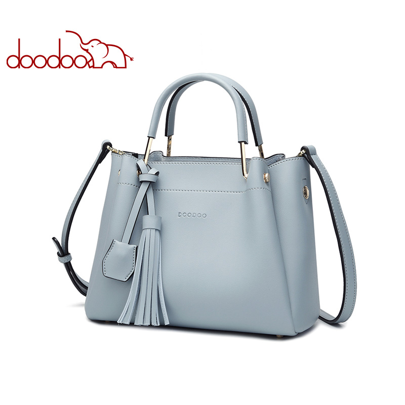 DOODOO Brand Women Handbag Tote Bucket Bag Female Shoulder Crossbody Bags New Ladies Artificial Leather Top-handle Bag Tassel vvmi 2016 new women handbag brand design rivet suede tassel bag chic classic vintage saddle bag single shoulder bag for female