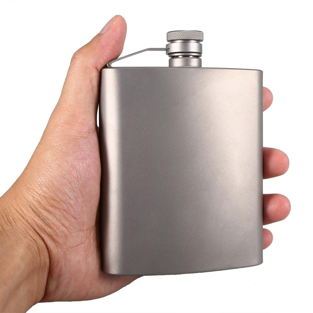 Lixada 200ml Lightweight Titanium Wine Flask Outdoor Travel Hip Camping Picnic Alcohol Drink Beer Bottle Pot