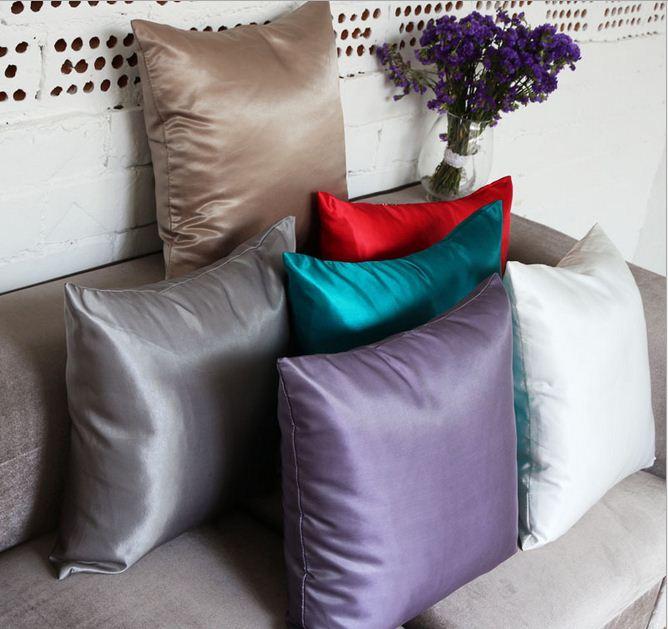 Sofa silver throw pillows satin silk decorative cushion covers