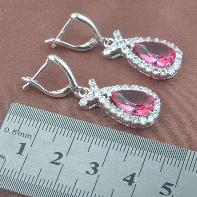 最高ギフト赤ジルコニア女子 925 シルバージュエリーセットウェディングジュエリーネックレスペンダントイヤリングリングブライダル jewelryTZ0453