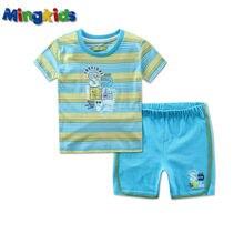 Mingkids Baby boy export Europe brand summer kids clothes sets suit blue navy cotton newborn sport Clearance
