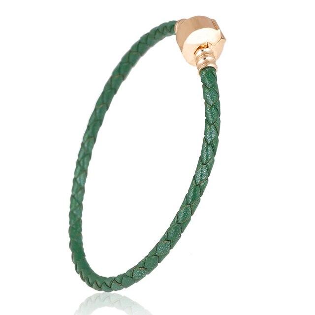Oryginalne zielone skóry 4mm Charm koraliki na bransoletkę łańcuch Charms zestaw do robienia bransoletek Fit metalowe ze szkła ze stopu europejskiej Big Hole koraliki prezent