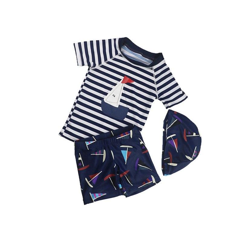Boys Swimwear Children's Swimming Trunks Cute Cartoon Sailboat Bathing Suit With Cap Kids Split Swimsuit  Sunblock Beachwear