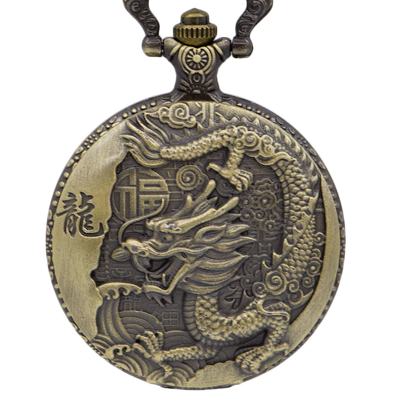 Retro Steampunk Carved Dragon Pocket Watch Chain Pendant Necklace High Quality Watches Men Women Gift CF1039
