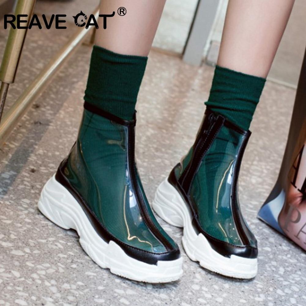 REAVE CAT Shoes woman Platform flats Zipper transparent Mash up High quality Fashion Spring Autumn boots