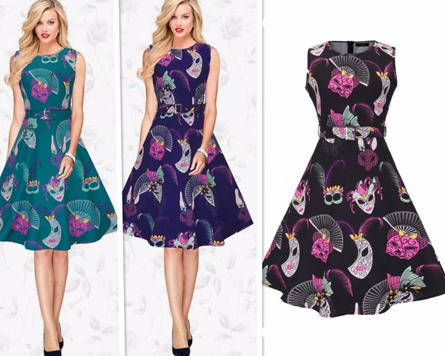 New Ladies Fashion Sleeveless O Neck Masks Print 1950s 1960s Vintage ...