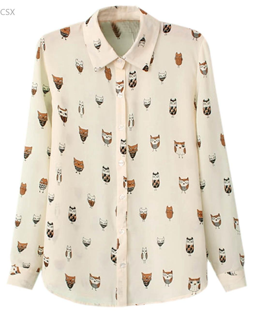 Freeshipping New Women Shirt Female Trendy Collar Owl Print Long Sleeve Chiffon Blouse Tops Blusa Feminina 4 Sizes SV11