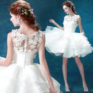 Image 5 - Wit Zweet Knielengte Multilayer Lace Lady Girl Vrouwen Prinses Bruidsmeisje Banket Feestjurk Jurk