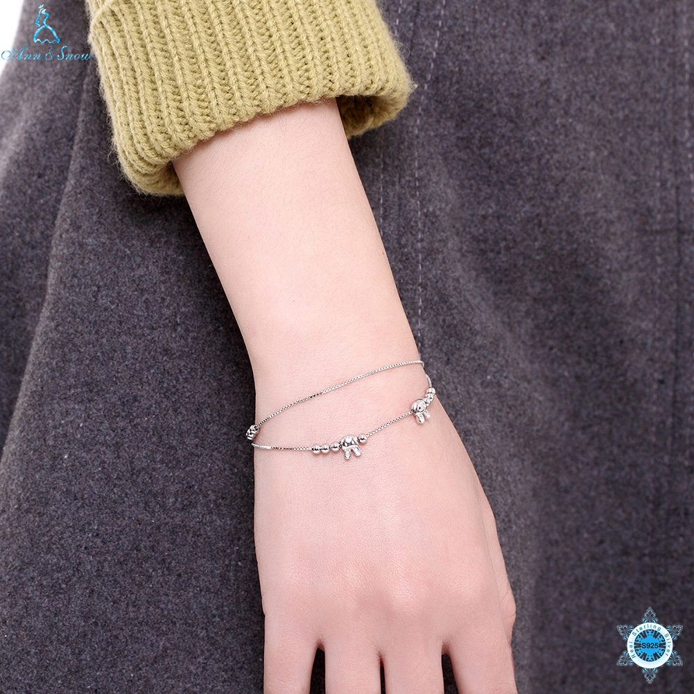 Authentic 925 Sterling Silver Endless Love Infinity Chain Link Adjustable Women Bracelet Beads & Rabbit Luxury Silver Jewelry