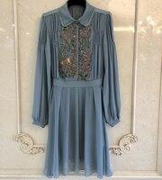 Голубое платье для женщин Весна Плиссированное Повседневное платье Новинка 2019 года с длинным рукавом женское платье элегантный