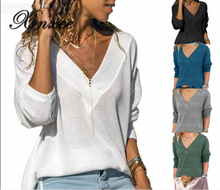 цена на Xnxee Autumn Casual Pure-colour V-neck Lady's Top with Long Sleeves
