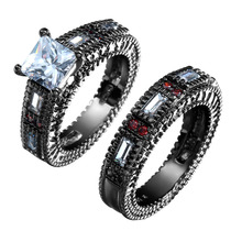 Vnfuru Black Ring Sets Cz Stone Jewelry For Women 2Pc Gold Color Rings Large Whie Red Promise Jewery Gifts