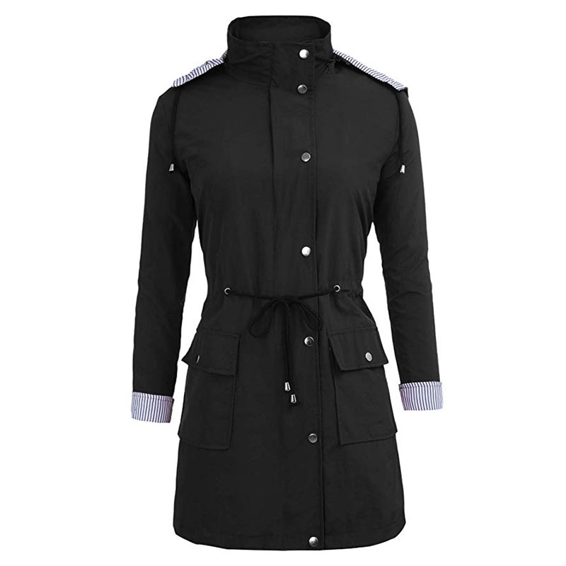 Femme For Waterproof Black navy Pocket green Long Zipper Casual Black Coat Autumn Clothes Color Slim Hooded Solid Button Trench Blue Women arHxrZ