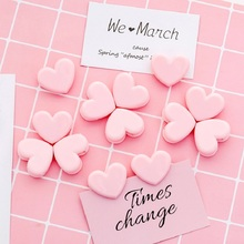10Pcs Kawaii Cute Pink Love Heart Paper Clip Lovely Plastic Bookmarks Photo Ticket Clips Clamp Stationery Office School Supplies