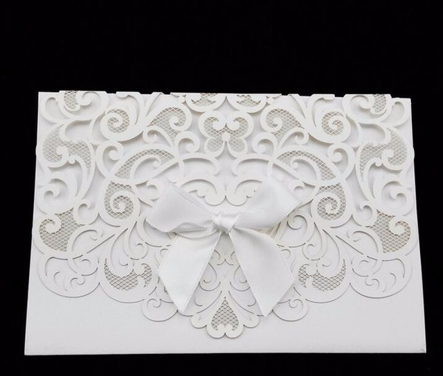 20pcs laser cut hollow lace embossed flowers bow ribbon invitations 20pcs laser cut hollow lace embossed flowers bow ribbon invitations card wedding invitation cards with envelope stopboris Gallery