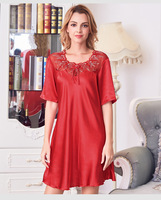 Women Nightgowns Silk Night Dress Sexy Short Sleeve Lace Casual Home Dress Night Shirt Sleepwear Nightwear