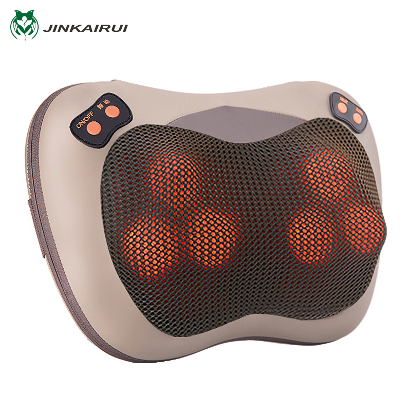 JinKaiRui Infrared Heating Electric Kneading Shiatsu Vibrator Neck Shoulder Back Body Massager Pillow Car/Chair/Home Massagem electric antistress therapy rollers shiatsu kneading foot legs arms massager vibrator foot massage machine foot care device hot