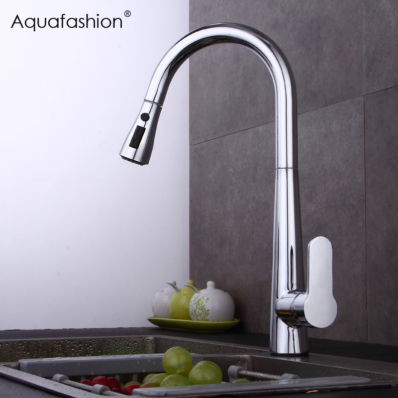 New Arrival Pull Out Kitchen Faucet Brass Sink Mixer Faucet Pull Out Hot And Cold Mixer Water Taps Brushed Nickel