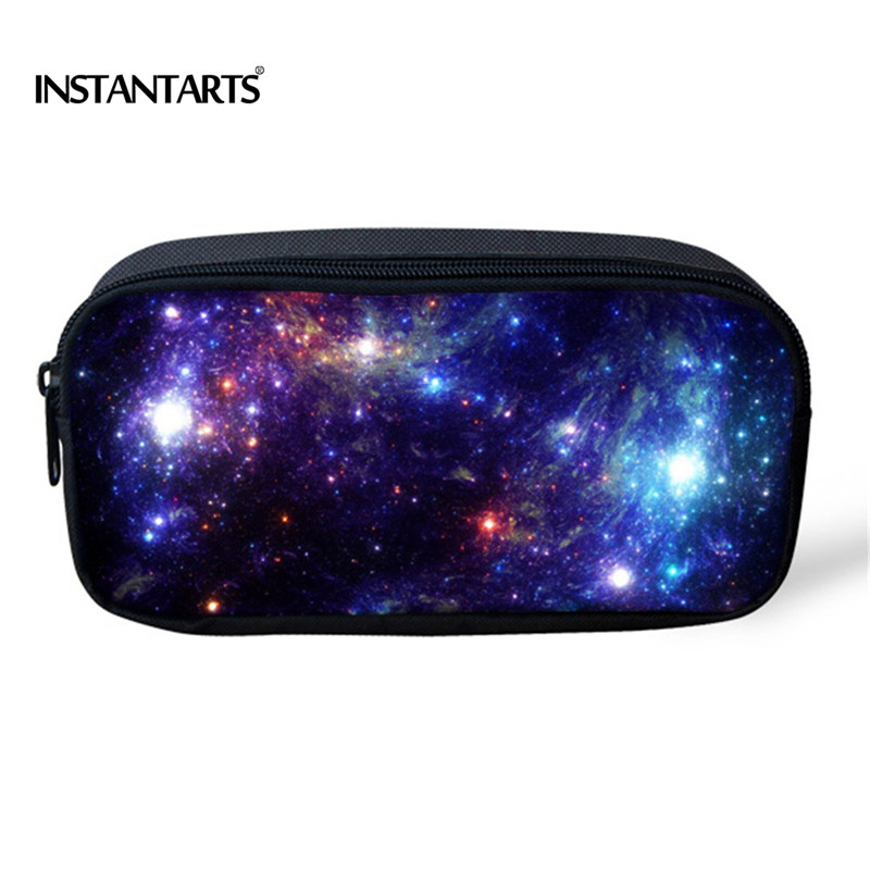 INSTANTARTS Fashion Universe Space Galaxy Women Travel Comestic Bags Designer Pencil Pouch For Children Girls Casual Makeup Case