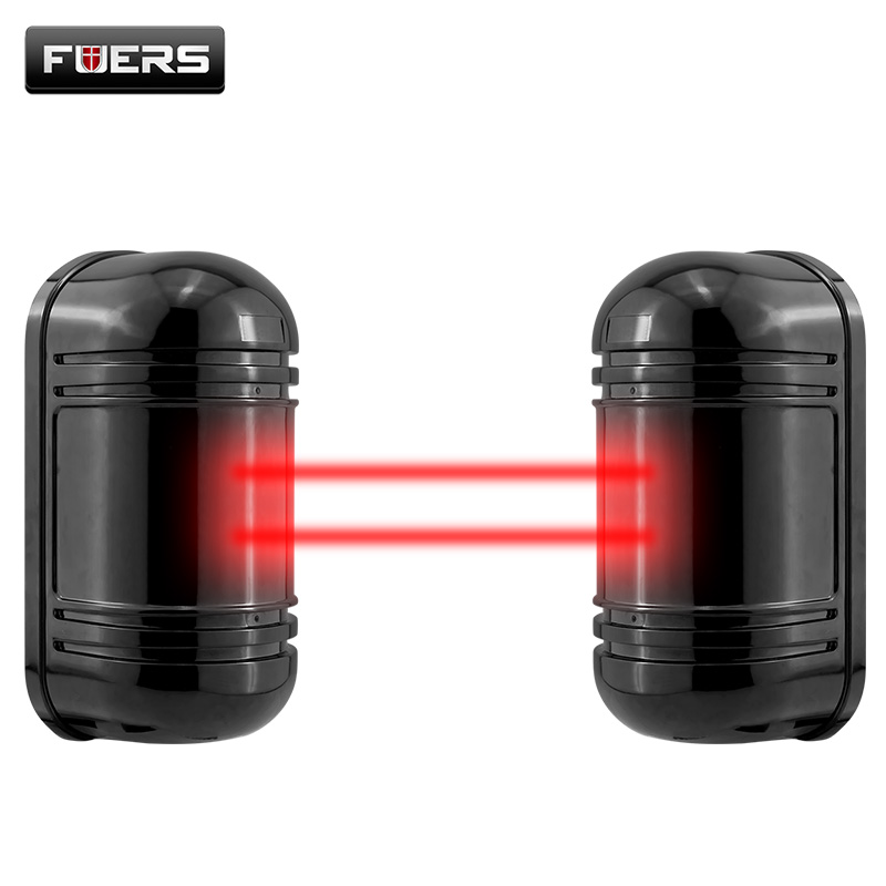 Fuers Wired Active Infrared Alarm Intrusion Detector Dual Beam Sensor 100M Outdoor Perimeter Barrier Fence For GSM Alarm System