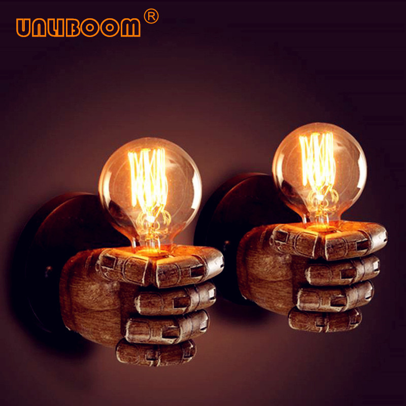 Creative Vintage E27 LED Resin Fist Wall Lamp Retro Corridor Bedside Bedroom Edison G80 ST64 Incandescent